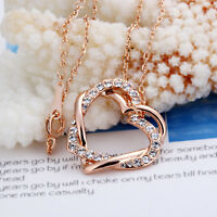 Free Shipping 18K Rose Gold GP Crystal Double Heart Pendant Necklace NW007