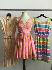 VINTAGE LOT OF 3 1970'S 80'S COTTON & POLYESTER DRESSES