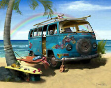 VW Flower Bus Art Print Painting ~ Volkswagen hippie van picture