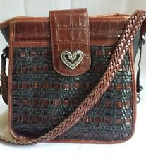 Brighton Black & Brown Moc Croc Woven Leather Shoulder Bag Crossbody Purse
