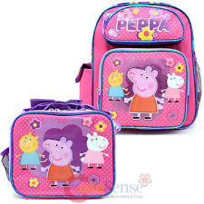 """Peppa Pig 12"""" School Backpack Insulated Lunch Bag 2pc Set Pink Dots Candy Cat"""