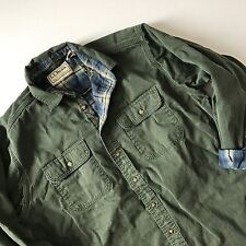 Men's LL Bean Plaid Flannel Lined Utility Shirt Olive Green Pockets size Large