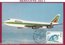 ITALIA MAXIMUM MAXI CARD 40° ANNIVERSARIO ALITALIA BOEING 747 1986 ROMA FIL B639