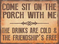 Come Sit on the Porch With Me Brown Metal Sign, Outdoor Living