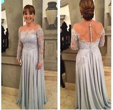 Mother of The Bride Dresses Silver Appliqued Long Sleeve Open Back Evening Gown