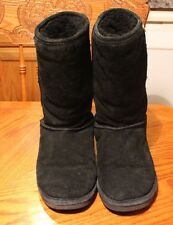 Bearpaw Women's Black 10 3/4 Tall Boots A20 Classic Suede Sheepskin Size 8