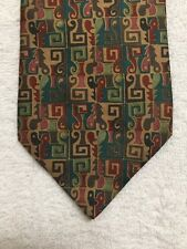 """BARNEYS NEW YORK MENS TIE BLUE GOLD RED GREEN TAN BROWN KEYS AND LEAVES 58x4"""""""