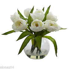 Tulips Arrangement with Vase Transitional Faux Floral / Plant Nearly Natural