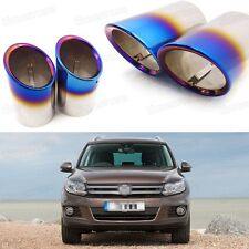 2x Car Exhaust Muffler Tip Tail Pipe End Trim Blue for VW Tiguan 2008-2016 #3031