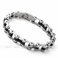 Men Silver Black Stainless Steel Link Motorcycle Chain Bracelet Bangle Wrap Cuff