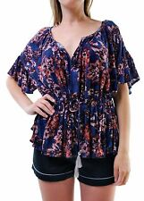 Free people Women's Authentic New River Bend V-Neck Top Multicolor RRP £70 BCF66
