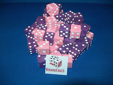 NEW 12 ASSORTED OPAQUE DICE 16mm PINK  AND PURPLE 6 OF EACH COLOR