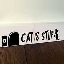 Cat Is Stupid Funny Mice Rat Mouse Hole Vinyl Wall Stickers Art Wallpaper Decor
