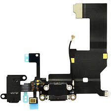 Connettore Ricarica USB Microfono per iPhone 5 NERO Flat Flex Dock JACK Antenna
