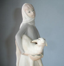 Lladro Girl with Lamb Sheep Figurine Unglazed Matte Finish Hand Made 14584 Rare!