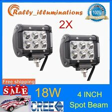 2X 4Inch 18W CREE LED Work Light Bars SPOT Motorcycle Car ATV Off-Road Fog 300W
