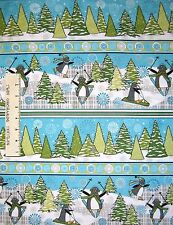 Flannel Fabric - Playful Penguins Christmas Winter Stripe - Wilmington YARD