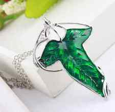 Vintage Lord of The Rings Green Leaf Elven Pin Brooch Pendant Chain Necklace one