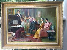 "Beautiful oil on canvas painting ""Musical family evening"" signed"