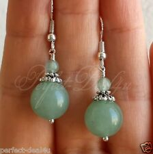 925 Sterling Silver hook Light Green Aventurine stone round Gemstone Earrings