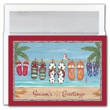 Holiday Flip Flop Beach Theme Boxed Holiday Christmas Cards - Set of 18