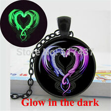 Glowing Necklace Pendant Dragon Necklace,Glow in the DARK,art dragon heart