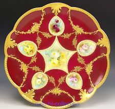"LIMOGES HANDPAINTED ART NOUVEAU ROSE ""PENDANTS"" JEWELS RAISED GOLD CABINET PLATE"
