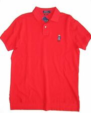 RALPH LAUREN MEN Polo Shirt Size L Red Bear 100 Cotton Mesh CUSTOM FIT solid Nwt