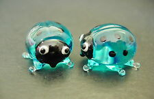 2 Tiny Glass LADYBIRDS BUG Turquoise Black Spotted Insect Glass Animal Ornaments