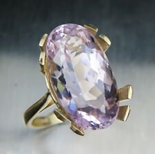11ct RARE Natural Pink Kunzite 18.35x10mm 9ct 375 yellow gold ring 6.75, resize