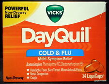 New Vicks DayQuil Cold & Flu Multi-Symptom Relief 24 LiquiCaps Exp:9/2018