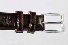 Tardini American brown alligator belt w/silver toned buckle, 34