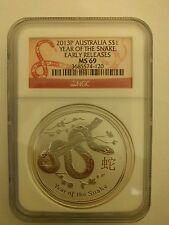 2013 P AUSTRALIA YEAR OF THE SNAKE $1 Silver Coin NGC MS 69 1 Oz Early Release
