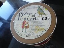 Williams Sonoma 12 days of Christmas salad dessert plates New in drum box