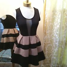 Cute Flirty Dress Cutout Mesh Deep Vee Top Stripe Skirt Stretchy One:11