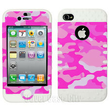 For Apple iPhone 4 4S Impact White Silicone Cover Pink White Camo Hybrid Case