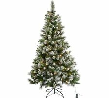 Pre Lit Snow Tipped Christmas Xmas Festive Tree with 180 Twinkling Lights - 6ft
