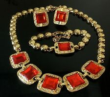 Pretty Red Rhinestone Crystal Square Gold Necklace Bracelet Earrings Set Prom