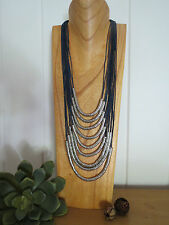 Boho Tribal Bead Nine Layered Necklace Silver Balls Navy Handmade Gypsy