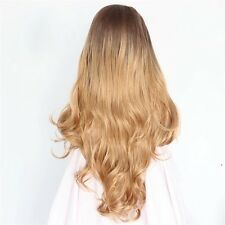 Natural Custom Long Wavy Curl Two Tone Brown Honey Blonde Ombre Women Lace Wig