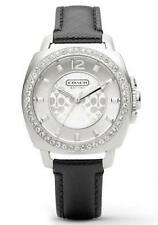 COACH WOMEN'S BLACK LEATHER SILVER TONE BOYFRIEND WATCH  145001789