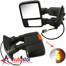 Towing Upgrade Mirrors Power Heated Turn Signal 99-07 Ford F250-550 Super Duty