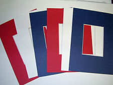 Picture Frame Mat 5x7 for 2.5x3.5 ACEO photo set of six Patriotic Collection