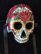 Mexican Skull Day of the Dead Dia de los Muertos Costume Sugar Skull Half Mask