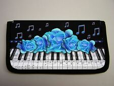 PIANO KEYS MUCIC NOTES BLUE ROSES   IMAGE NEOPRENE FABRIC  CHECKBOOK COVER
