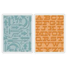 Sizzix Texture dissolvenze embossing folders FRECCE & Boardwalk Set 659489 ridotto