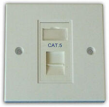 Cat5 1 Way Data Network Outlet Kit, Faceplate, Module. LAN Ethernet Wall Mount