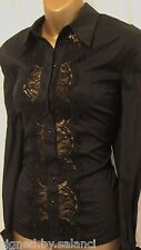 Karen Millen Panel Lace Shirt Smart Fitted Stretch Long Sleeve Blouse Black 6 34