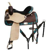 """NEW 14"""" 5PC PACKAGE CIRCLE S Barrel saddle set with TEAL Painted Navajo Diamond!"""