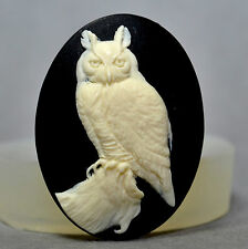 OWL CAMEO - silicone mould - food use resin polymer clay plaster wax mold